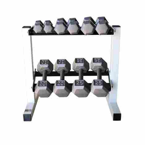 1. Cap Barbell Solid Hex Dumbbell Set with Rack