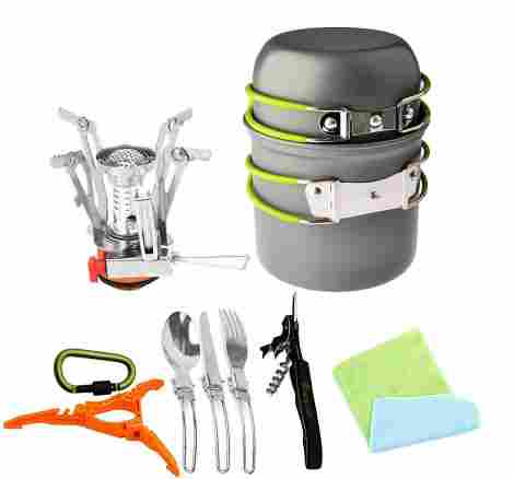 12. Bisgear Camping Cookware Stove/Gear Set