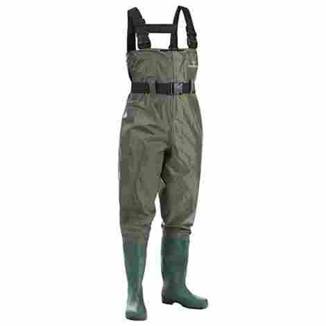 7. FISHINGSIR Waterproof Insulated Breathable Nylon and PVC Cleated Wading Boots