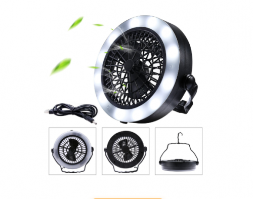 MILIJIA USB Powered Tent Light with Ceiling Fan
