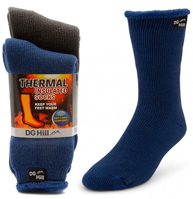 DG Hill 2 Pairs of Mens Thick Heat Trapping Thermal Socks