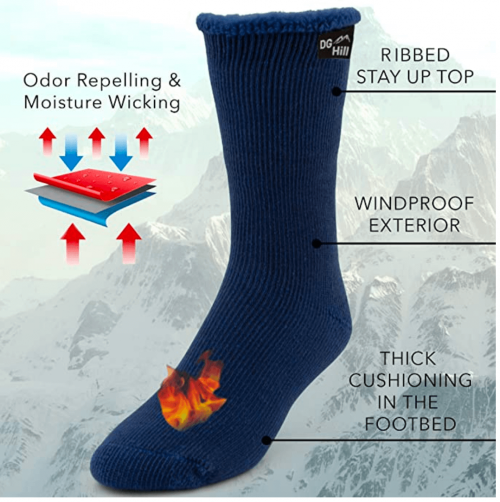 DG Hill 2 Pairs of Mens Thick Heat Trapping Thermal Socks 2