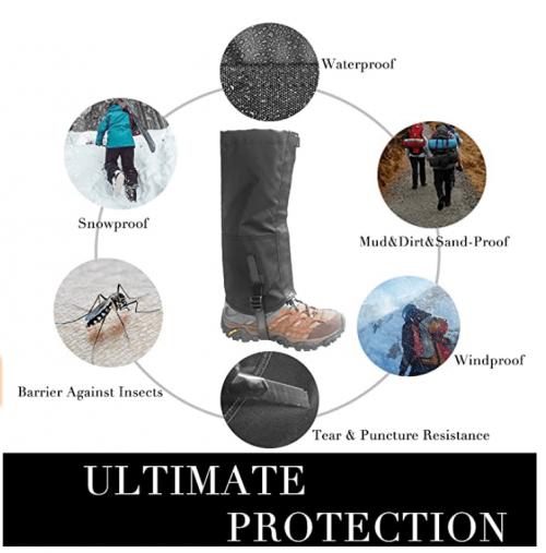 Frelaxy Leg Gaiters 900D Ultra Strong Waterproof Hiking Gaiters Snow Boot Gaiters